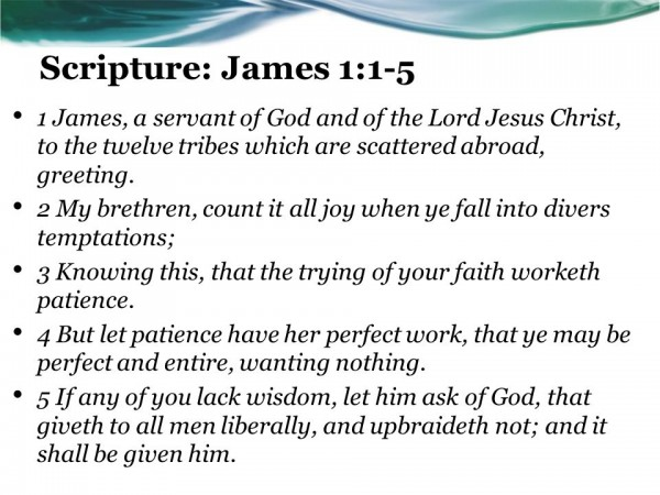 Tenacity or Calamity James 1 : 1-5